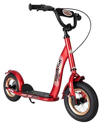 BIKESTAR Roller Kinderroller Tretroller Kickscooter mit Luftreifen für Jungen und Mädchen ab 4-5 Jahre ★ 10 Zoll Classic Kinder Scooter ★ Rot