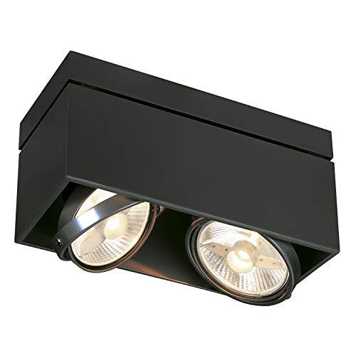 SLV LED Deckenlampe KARDAMOD für eine effektvolle Innenbeleuchtung   Dreh- und schwenkbare LED Deckenleuchte, Decken-Strahler, Spot Innenleuchte   Zweiflammig, Eckig, Schwarz, GU10, max. 75W, E -A++