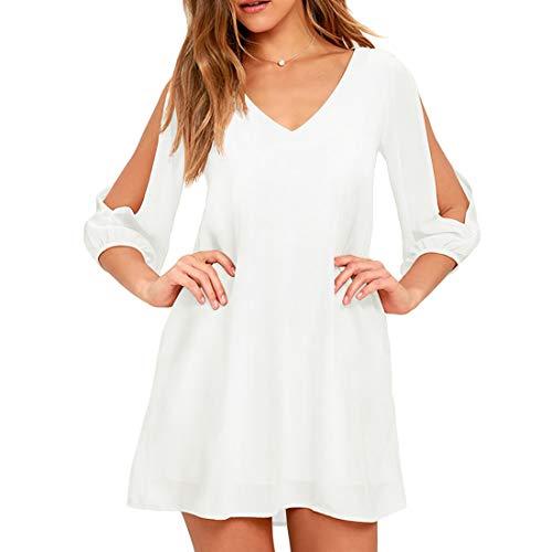 Shy Velvet Women's Long Sleeve Casual Loose Summer Midi Shift Floral Dress White