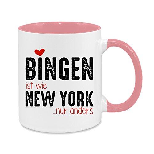 Bingen ist wie New York - nur Anders… - hochwertiger Keramik-Kaffeebecher - Cups by t? - Kaffeetasse - Spruchtasse - Tasse mit Spruch - Geschenk