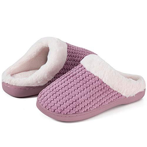 Winter Hausschuhe Damen Memory Foam Plüsch Wärme Home Rutschfeste Slippers wollähnliche für Drinnen und Draußen(Pink, 38/39EU)