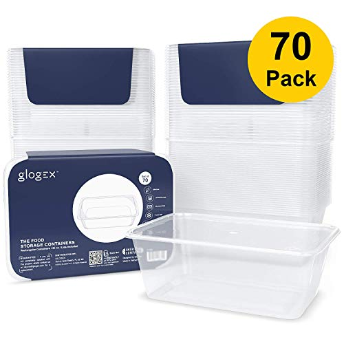 Glogex [70 Pack] Deli Plastic Food Storage Containers With Lids, Rectangular 25 Ounce Kitchen Containers, BPA-free, Leakproof, Microwave, Dishwasher and Freezer Safe