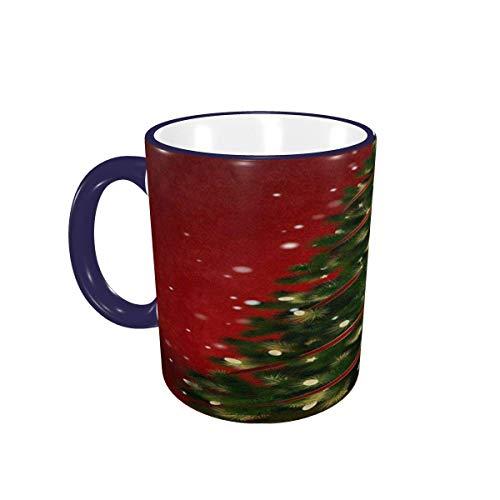 Taza de café, Rojo, Feliz árbol de Navidad, Tazas de café, Tazas de cerámica con Asas para Bebidas Calientes, Capuchino, café con Leche, té, Cereales, café, Regalos, 12 oz Navy Blue