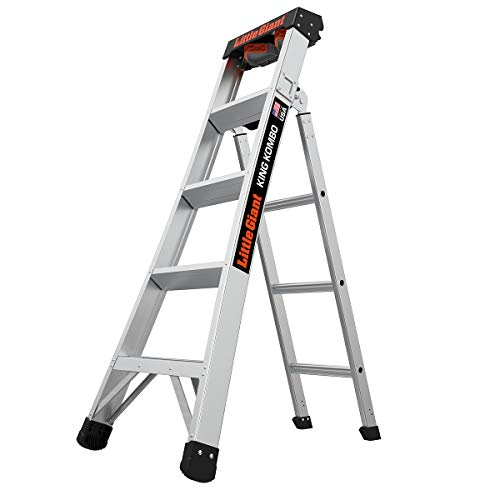 Little Giant Ladders, King Kombo, Professional, 5 Ft. A Frame, 8 Ft. Extension, Single Hinge, Aluminum, Type 1A, 300 lbs weight rating, (14905-001)