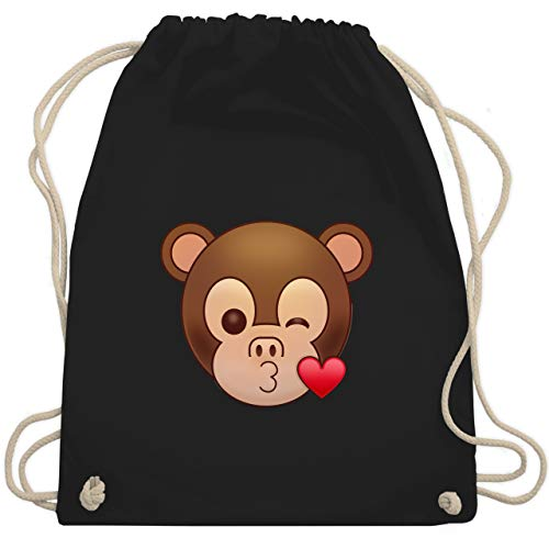 Comic Shirts - Küsschen Äffchen Emoticon - Unisize - Schwarz - rucksack mit emojis - WM110 - Turnbeutel und Stoffbeutel aus Baumwolle