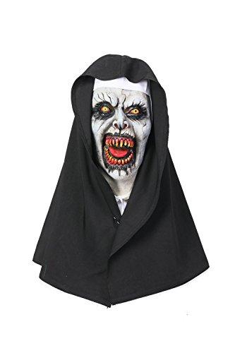 Wellgift Halloween Nun Maske & Kopfstück Frauen Scary Voller Kopf Nonne Helm Cosplay Kostüm Karneval Fancy Dress Merchandise