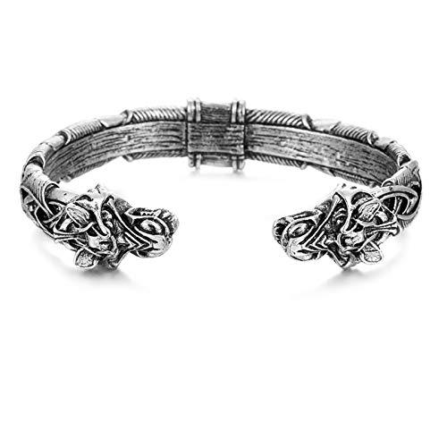 ORCCAC Pulsera Hecha a Mano, Pulseras de dragón Vikingo, Brazalete de Extremo Abierto, Brazalete Ajustable, joyería de Moda para Hombres y Mujeres (Color : Silver)