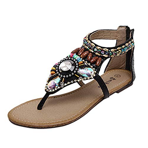 FeiBeauty Vintage Sandalen Damenmode Böhmen Strass String Bead Flats Schuhe Flip Flops Open-Toed Rom Sandalen Flipflops Schwarz, Beige