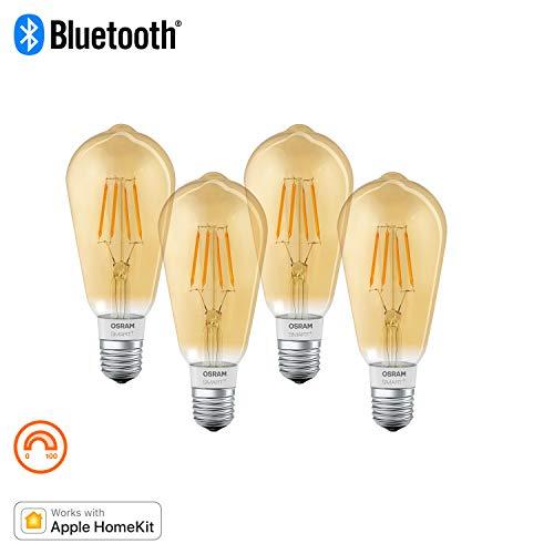 Osram Smart + LED filamento edison Oro | Apple HomeKit lampada con | dimmerabile | Sostituisce 60W, attacco E27Lampadina | Bianco Caldo | 4er Pack