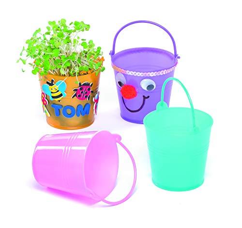 Baker Ross Mini-plastic emmer voor kinderen om te versieren en te spelen, tuin en natuur (6 stuks)