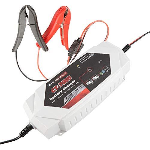 Cargador Mantenedor de Batería 12V/24V - Cargador Portátil Totalmente Automático de 7 Amp para Baterías de Plomo e Iones de Litio con Protección Contra Sobrecarga - Adecuado para Coches, Motocicletas