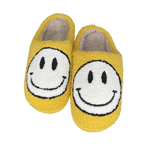 CHATTE Retro Smiley Face Comfort Indoor Outdoor Cozy Trendy Slip-On Slipper… (YELLOW, LARGE, numeric_8_point_5)