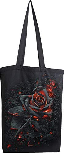 Spiral Burnt Rose Unisex Stofftasche schwarz, Baumwolle, Undefiniert Everyday Goth, Gothic, Rockwear