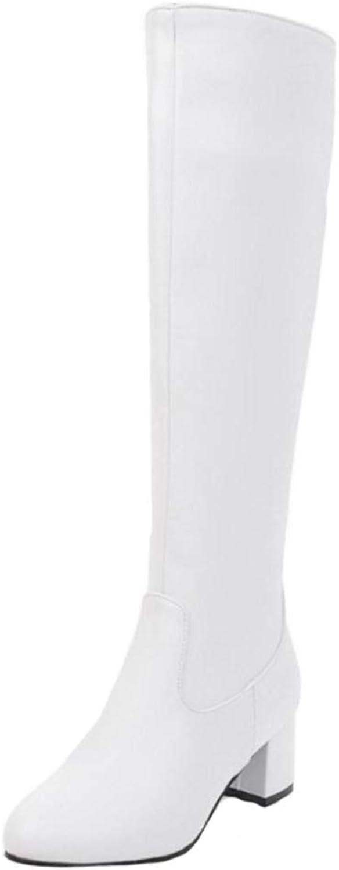 CUTEHEELS Women Chunky Heel Knee-High Boots Black