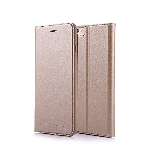 Nouske iPhone 6 6s 4.7 Zoll Stand Hülle Etui with Karte Halterung Leder Wallet Klapphülle Flip Book Hülle TPU Cover Bumper Tasche Ultra Slim, Gold