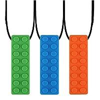 TOPARCHERY チュイブロックネックレス(5/3パック+エクストラクラスプ)穏やかから中程度の咀嚼チュアブル刺激テクスチャード経口サポート男の子女の子子供w/自閉症 (3 x)
