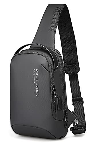 Muzee bolso hombre bandolera,Paquete pequeño y gran capacidad para iPad de 7.9 pulgadas (negro)