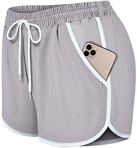 Fulbelle Sleep Shorts for Women, Juniors Athletic Yoga Gym Running Workout Sports Hiking Short Pants Double Layer Prevent Wardrobe Malfunction Sweat Shorts Gray and White XX-Large