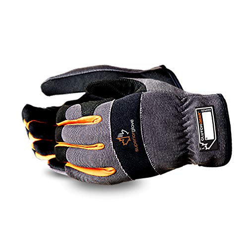 Superior Winter Work Gloves - Black and Gray Synthetic Leather Winter Mechanics Gloves (MXPLFLE) - Medium