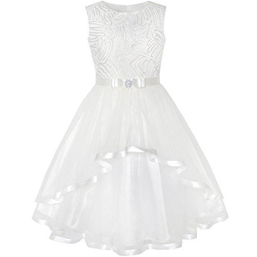Sunny Fashion Vestito Bambina Fiore Bianco con Cintura Nozze Festa Damigella d'Onore 10 Anni