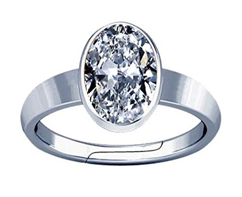 Divya Shakti 12.25-12.50 Carat American Diamond Oval Zircon Gemstone Silver Adjustable Plain Design Ring for Men & Women