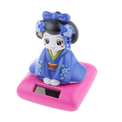 FEERIES ET MERVEILLES Poupee Japonaise, Figurine Geisha Bleue Solaire (HT 10 x 7 cm), Lampe Solaire