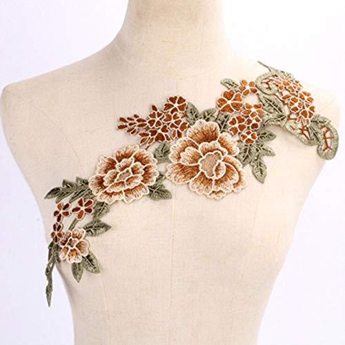 1pc borduurwerk bloem lange kant hals stof DIY kant kraag stof voor naaibenodigdheden Craft Scrapbooking, NL005GR