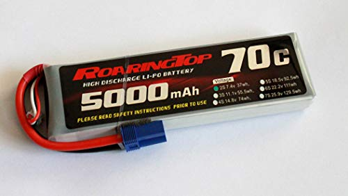 RoaringTop LiPo Battery Pack 70C 5000mAh 2S 7.4V with EC5 Plug for RC Car Boat Truck Heli Airplane