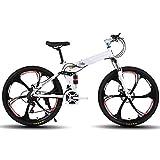She Charm Plegable Bicicleta De Montaña De 26 Pulgadas, Bicicleta De Montaña para Adultos De 21 Shifter Velocidad del Acelerador con El Cortador 6 Rueda