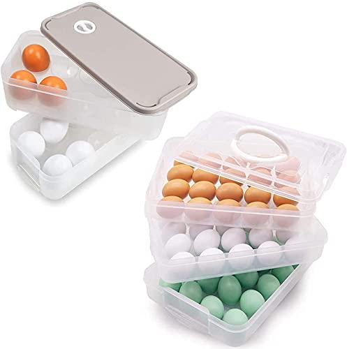 Soporte para huevos para nevera, bandeja de huevos con tapa, dispensador de huevos de plástico apilable para 80 huevos