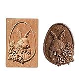 Cortador de galletas de madera, herramienta de hornear de madera, moldes de galletas tallados de madera, molde de galletas de jengibre para galletas de galleta