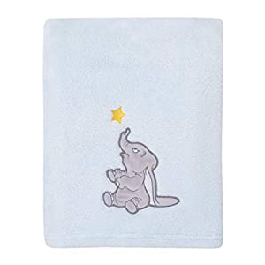 crib bedding and baby bedding disney dumbo - shine bright little star aqua, grey and yellow super soft baby blanket with applique