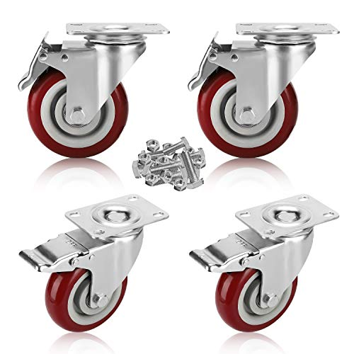PRITEK 4 inch Swivel Caster Wheels Bearing 1200lbs 4 Pack Heavy Duty Rubber Plate Casters All with Safety Brake No Noise Lockable Swivel Casters Include 16pcs Screws Set