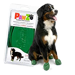 Pawz Dog Boots X-Large Green | Dog Paw Protection with Dog Rubber Booties | Dog Booties for Winter, Rain and Pavement Heat | Waterproof Dog Shoes for Clean Paws | Paw Friction for Dogs