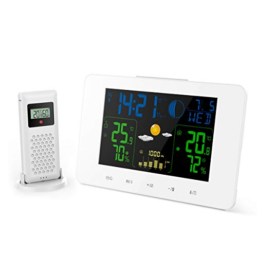 Oritronic Weather Station with Clock, Indoor Outdoor Thermometer with Wireless Sensor, Digital Temperature Humidity Monitor Gauge, Barometer, Hygrometer, Large LCD Horizontal Screen, White