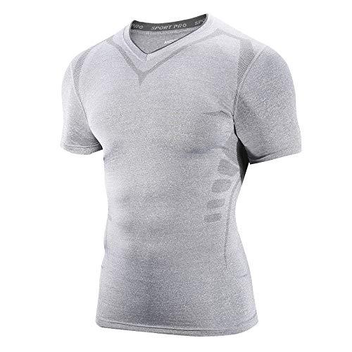AMZSPORT Herren Kompressionsshirt Kurzarm Funktionsshirt Atmungsaktives Sportshirt Laufshirt, Hellgrau L
