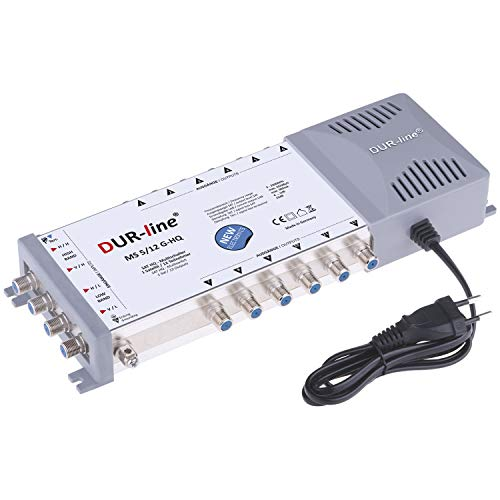 DUR-line MS 5/12 G-HQ Multischalter - SAT für 12 Teilnehmer/TV - mit stromspar Netzteil - Made in Germany - Multiswitch [Digital, HDTV, FullHD, 4K, UHD]