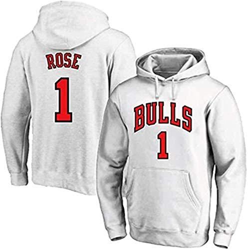 Sudadera NBA Chicago Bulls, Derrick Rose, talla 1, sudadera con capucha, manga larga, suéter de baloncesto, adecuado para primavera, otoño e invierno, Forever Rose (color: B, talla: XXXL) – Unise