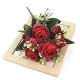 WXL Flores artificiales de seda para decoración de jardín, fiestas, bodas, flores artificiales (color: rojo)