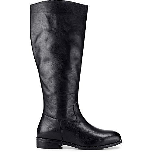 Cox Damen Langschaft-Stiefel aus Leder, Stiefeletten in Schwarz mit robuster Laufsohle Schwarz Glattleder 37