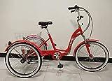 Scout Tricycle Adulte, Cadre en Alliage, Pliable, 6 Vitesses, Suspension Avant, Trike Pliant - crème