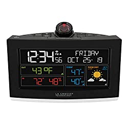 La Crosse Technology C82929-INT WiFi Projection Alarm Clock with AccuWeather Forecast, Black