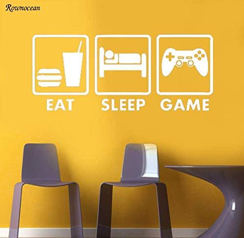 Eat Sleep Game Controller Joystick muurkunst sticker Home Decor muurschildering vinyl vliegtuig sticker afneembare wandafbeeldingen hoge kwaliteit 99x42cm