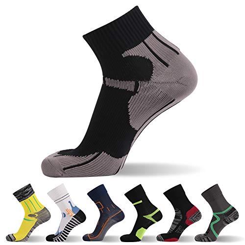 RANDY SUN Socken nicht wasserdicht, aber winddicht, [SGS-zertifiziert] Unisex Mid Wade Sport Klettern Radfahren Wandern Socken 1,4 Paar - Schwarz - Large