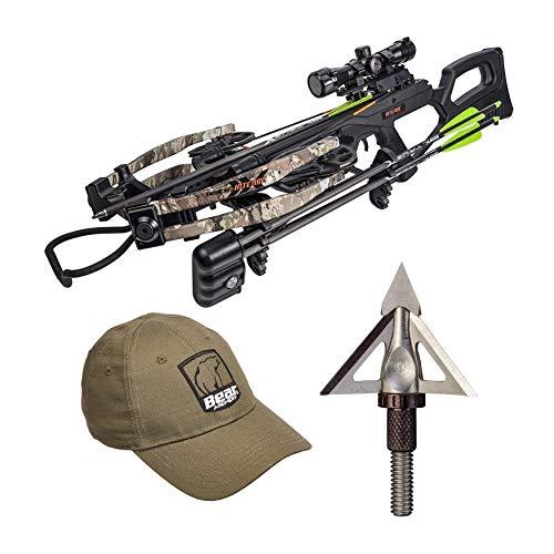 Bear Archery 400 FPS Bear X Intense Crossbow Package (Veil Stroke) with Psycho XB Fixed Broadheads & Hat (3 Items)