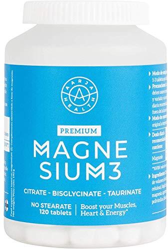 Triple Magnesium Complex - Citrato de Magnesio con Bisglicinato y Taurato - Calidad Nórdica - 120 Tabletas veganas - Aarja Health Puro y Sin Estearato