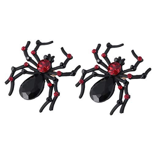 Halloween Pendientes de Araña Pendientes de Plata Pendientes Punk Negros Pendientes de Araña Aros Accesorios Elegantes (Negro) 1 par