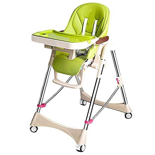 CCLLA Klappbarer Babyhochstuhl, Kindersitz mit Futtertablett - 5-Punkt-Gurt und Spieluhr (Farbe: GRÜN, Größe: Mit Rad)