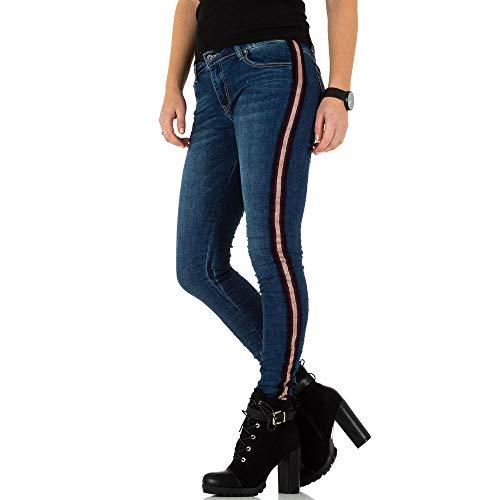 Ital-Design Kontraststreifen Low Skinny Jeans Für Damen, Blau Multi...