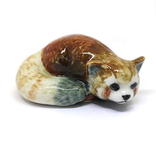 ZOOCRAFT Ceramic Red Panda Figurine Animal Craft Miniature Collectible Porcelain DIY Gift
